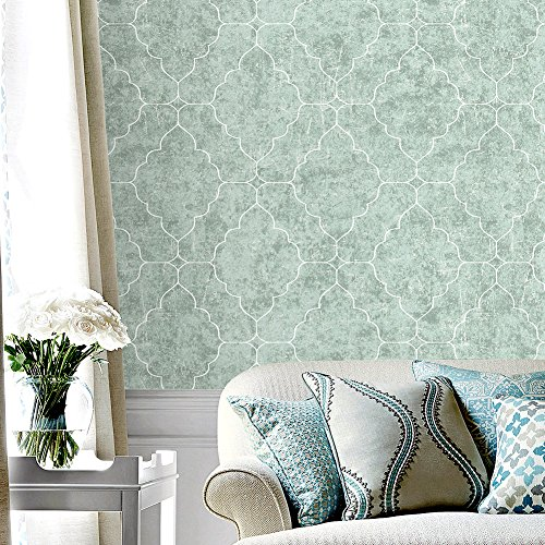 Cheap  HaokHome 901502 Graphic Trellis Wallpaper Smoke Green/White/Lt.Gold for Home Bathroom Kitchen Accent..