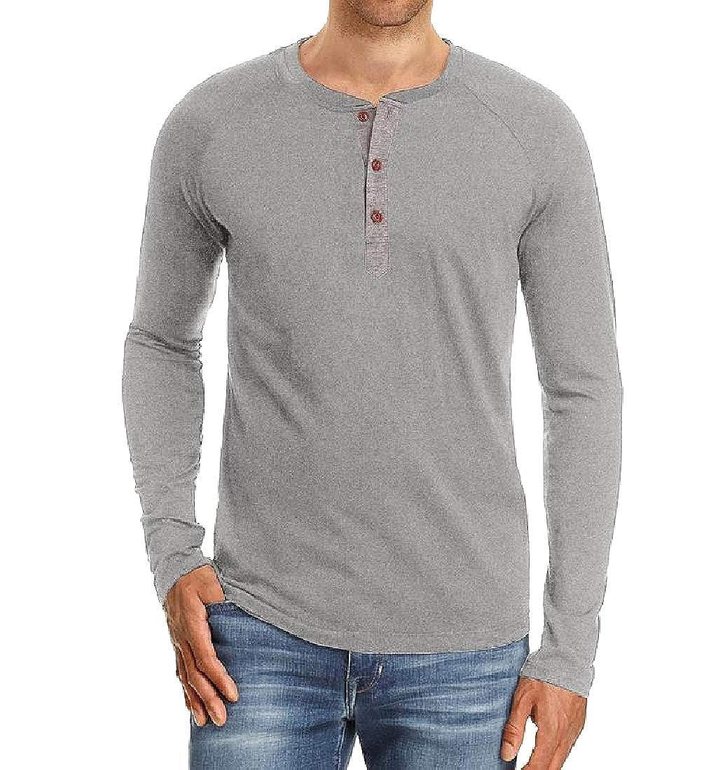 YUNY Mens Plus Size Crew Neck Long Sleeve Button Down Tunic Shirt Light Grey XS