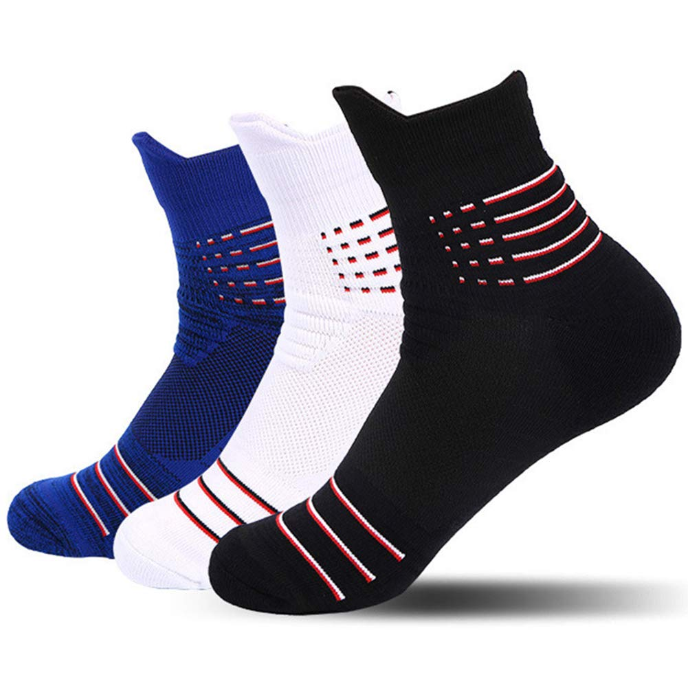 3 Pairs Thick Protective Athletic Cushion Quarter Socks Performance Elite Basketball Compression Sport Socks,size 7-12 (Mulitcolor D)