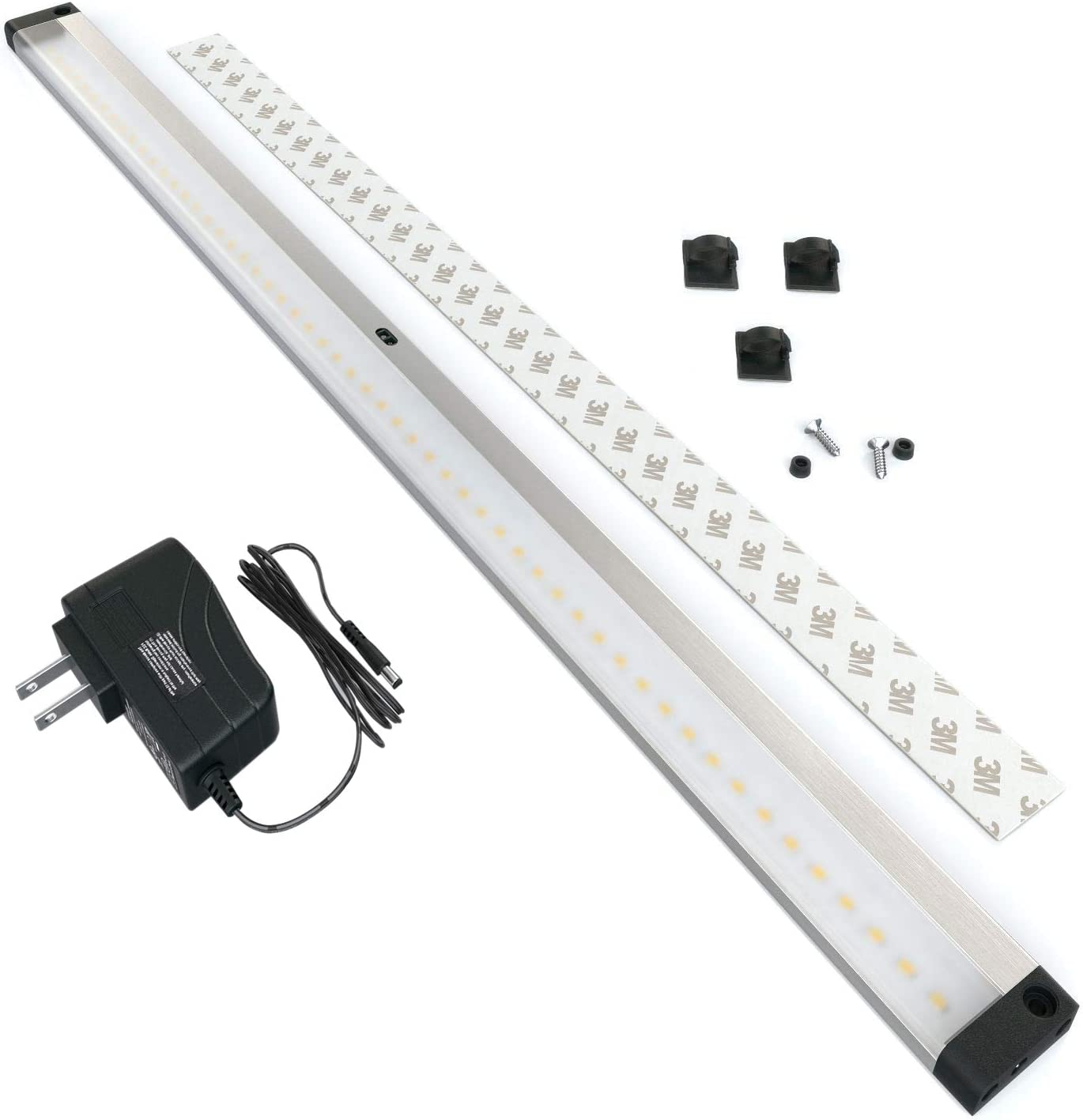 EShine LED Dimmable Under Cabinet Lighting – Extra Long 20 Inch Panel, Hand Wave Activated – Touchless Dimming Control, Cool White 6000K