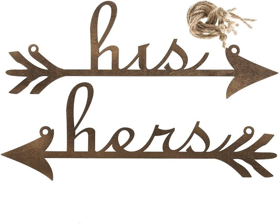 Tinksky His and Hers Arrow Chair Signs Banner Wedding Favors Anniversary Engagement Home Decor (Brown)