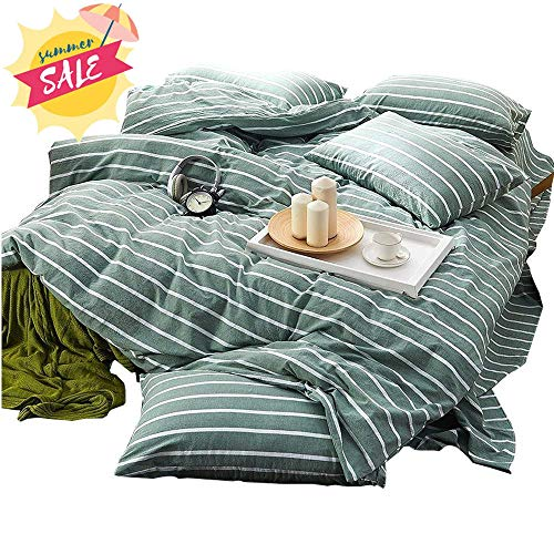 - Green Duvet Cover Set Queen Striped Duvet Cover Cotton Luxury Bedding Set Girls Boys Duvet Cover Set Super Soft Washed Cotton Bedding Cover Set for Kids Adults with Zipper Closure and Corner Ties