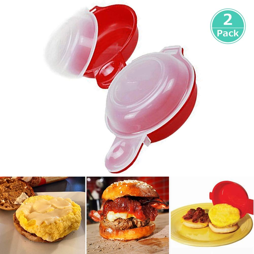 LJLGC Egg Cookers,2Pcs/Set Hamburg Pancake Omelet Maker EAS New Eggwich Cooking Tools Microwave Eggs Cheese Cooker Kitchen Baking Eggs