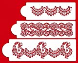 Designer Stencils C370 Alencon Lace Set Cake Stencil, Beige/semi-transparent