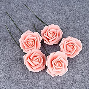 Febou Artificial Flowers, 50pcs Real Touch Artificial Foam Roses Decoration DIY for Wedding Bridesmaid Bridal Bouquets Centerpieces, Party Decoration, Home Display, Office Decor (Standard Type, Pink) 5