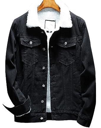 e088975a33c3 Denim Jackets Trendy XU Winter Fashion Black Faux Fur Jean Coat Wool Collar  (M)