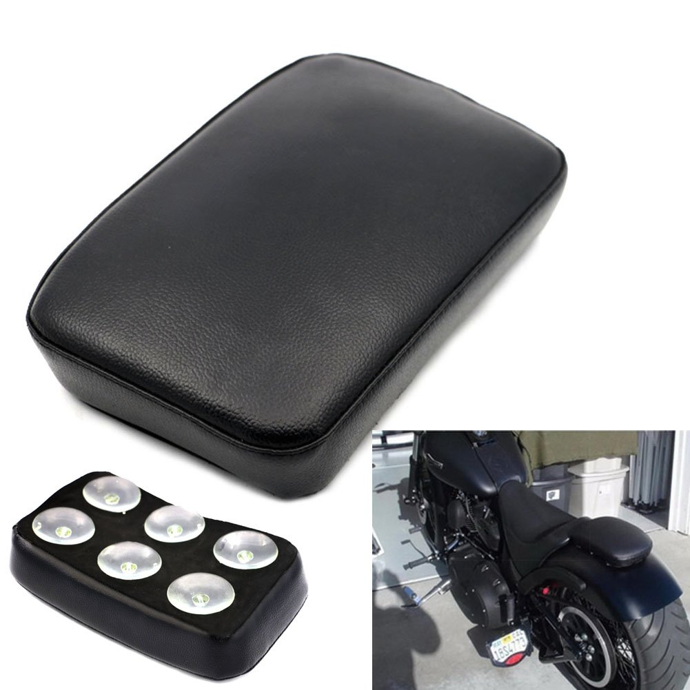 Alpha Rider Motorbike Pillion Pad Suction Cup Solo Rear Seat Passenger Saddle for Harley Dyna Sportster Softail Touring XL 883 1200 Motorcycle fans