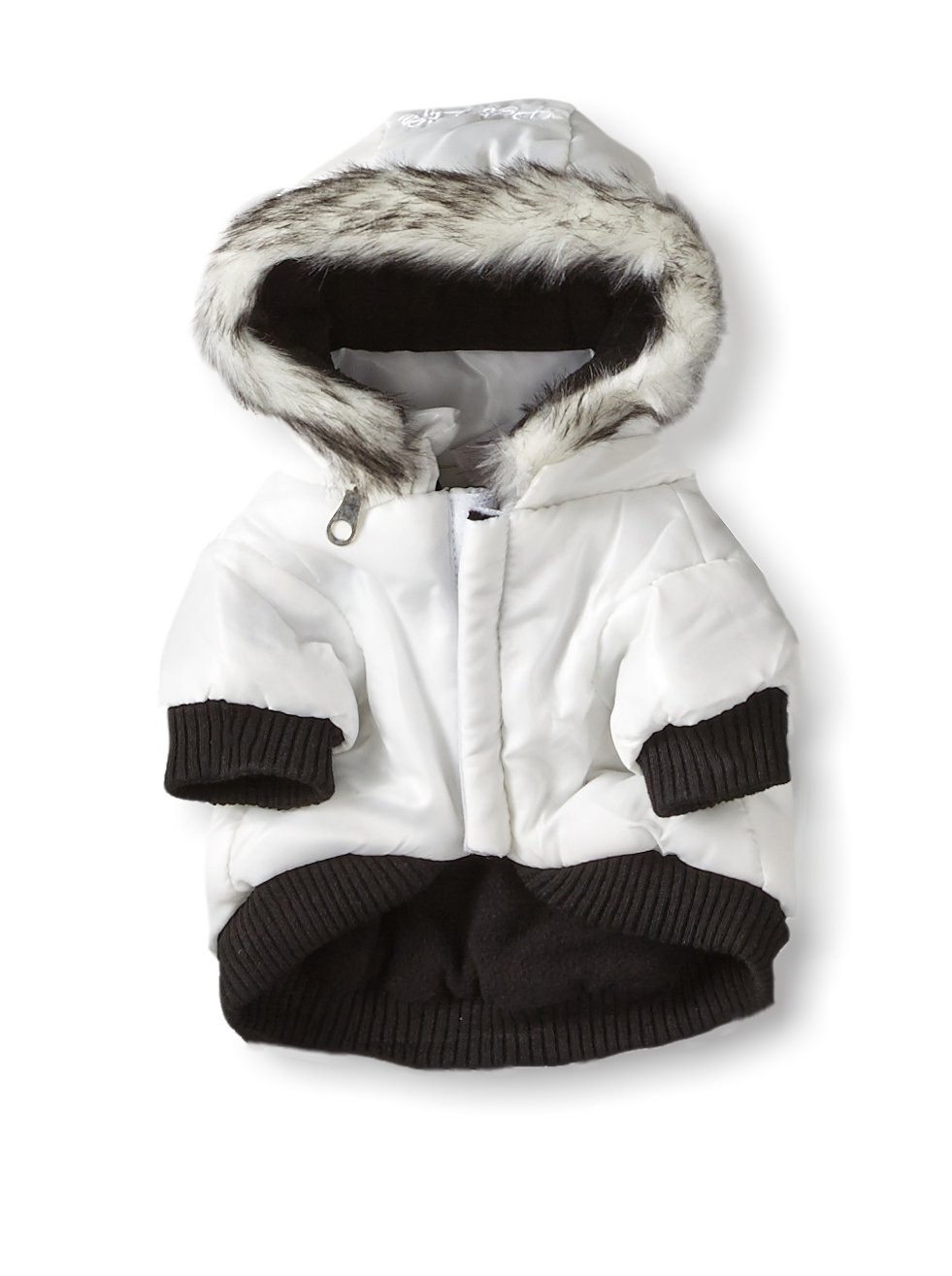 Pet Life DPF00203 Metallic Ski Parka Dog Coats with Removable Hood, Small, White