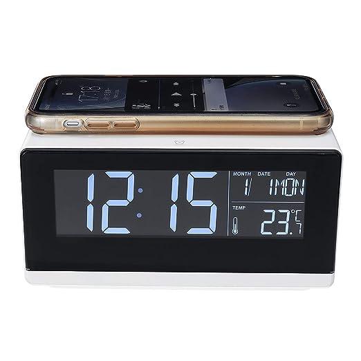 XJYA Digital Led electrico Despertador con Cargador inalámbrico ...