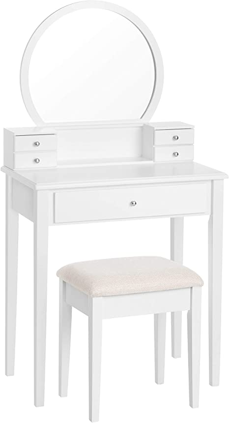 Makeup Dressing Table with Mirror VASAGLE Vanity Table with Upholstered Stool Set 3 Drawers