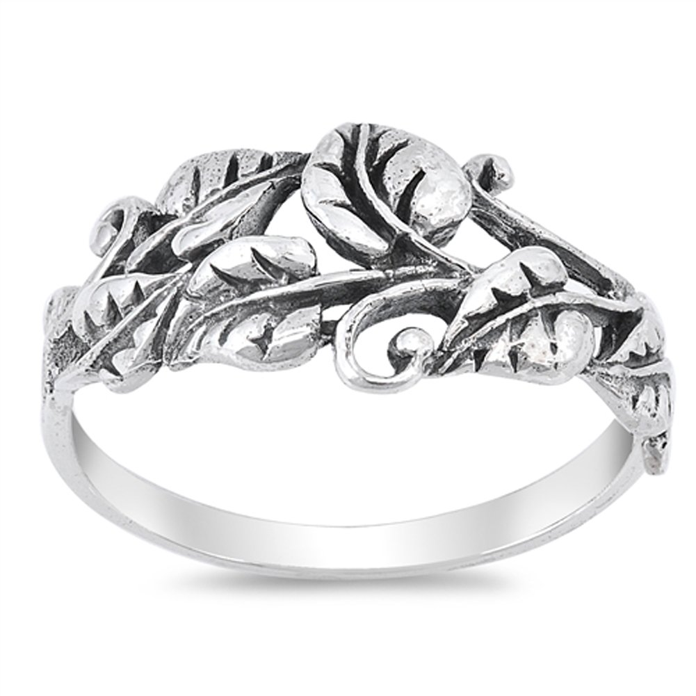 Oxidized Tree Leaf Vine Forest Filigree Ring 925 Sterling Silver Band Size 9