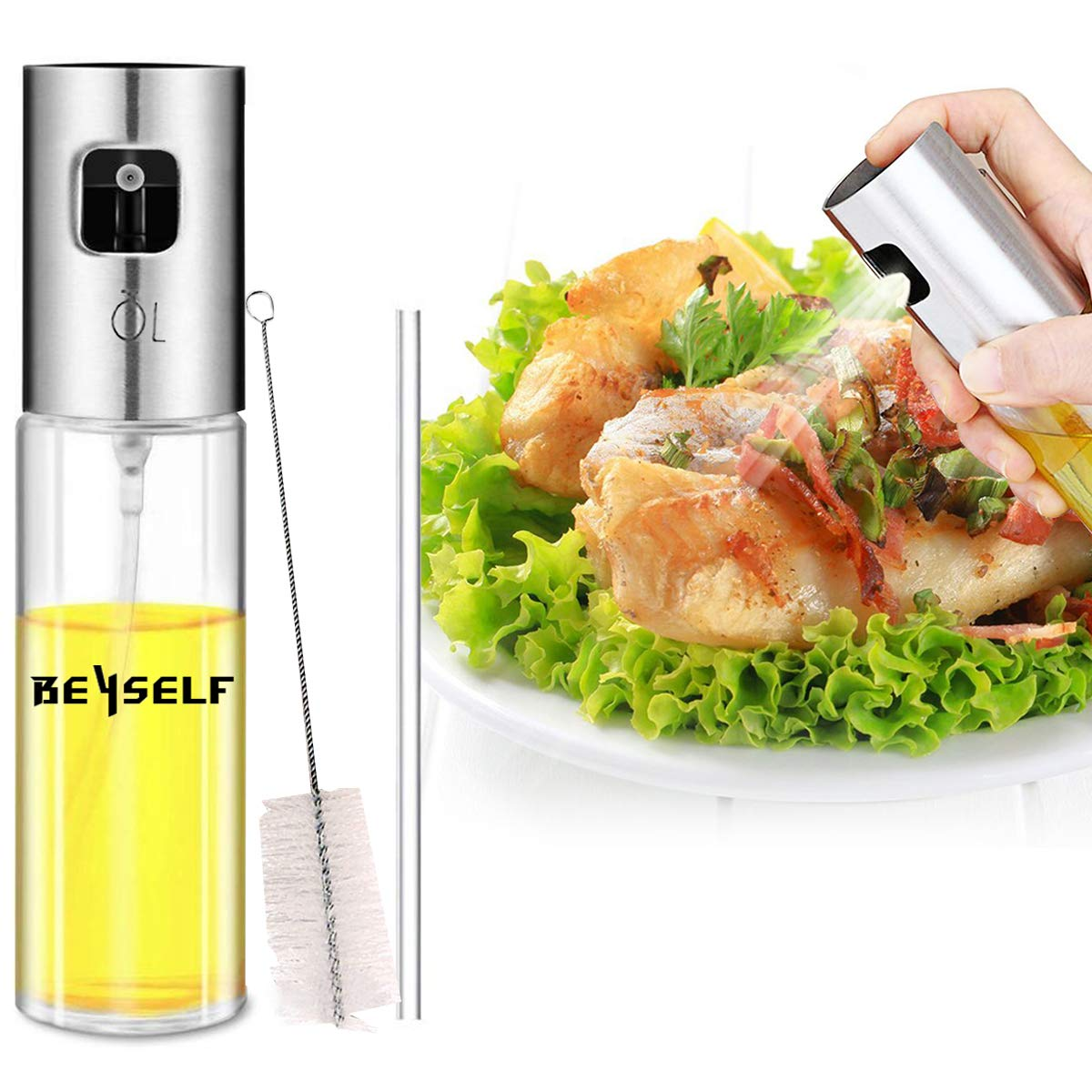 BeYself Oil Sprayer Dispenser, Oil & Vinegar Sprayer/Dispenser/Oil Spray Bottle 100ml Stainless Steel & Glass for BBQ, Salads, Cooking, Grilling, Frying
