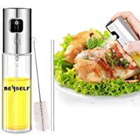 BeYself Oil Sprayer Dispenser, Oil & Vinegar Sprayer/Dispenser/Oil Spray Bottle 100ml Stainless Steel & Glass for BBQ, Salads, Cooking, Grilling, Frying