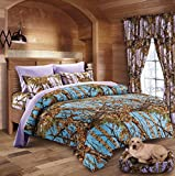 20 Lakes Luxurious Microfiber Powder Blue & Lavender Camo Comforter & Sheet Set Bed in a Bag – Twin