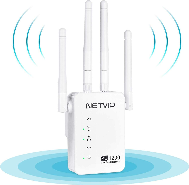 NETVIP WiFi Repetidor 1200Mbps WiFi Amplificador Repetidor de Red WiFi Banda Dual (300Mbps en 2,4GHz y 867Mbps en 5GHz) Punto de Acceso WiFi, Puerto ...