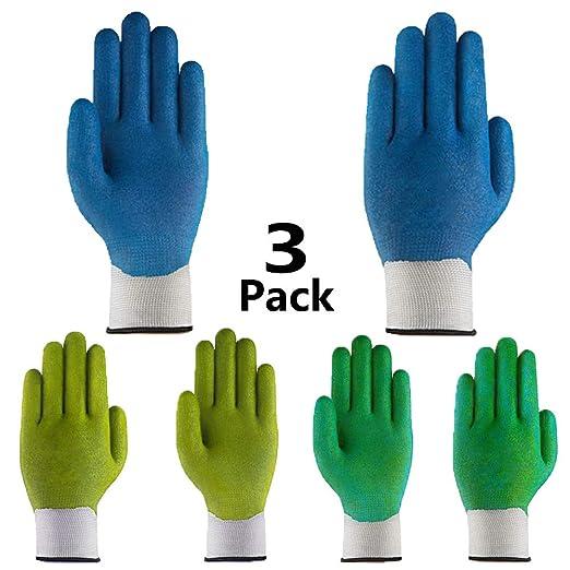 3 pares de guantes de jardín de alto rendimiento, agarre superior transpirable, con revestimiento de látex que mantiene los dedos limpios, de alta visibilidad, lavable a máquina, duradero para uso general: Amazon.es: