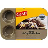 Glad Cupcake and Muffin Pan – Premium Non-Stick Oven Bakeware, Whitford Gold, Jumbo 6-Cup