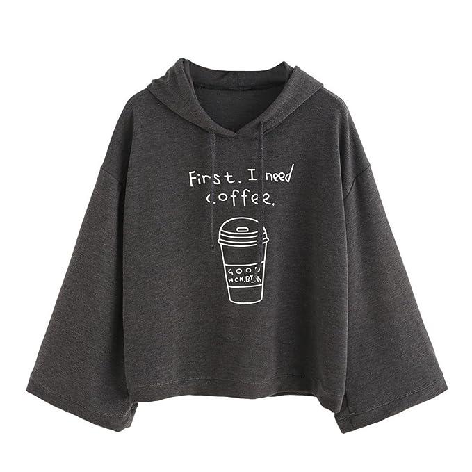 SHOBDW FIRSTLY I NEED COFFEE Blusas de mujeres de moda 2017 de lagars atractivas otoño de la camiseta de manga larga de la Camiseta de Parte superior largo ...