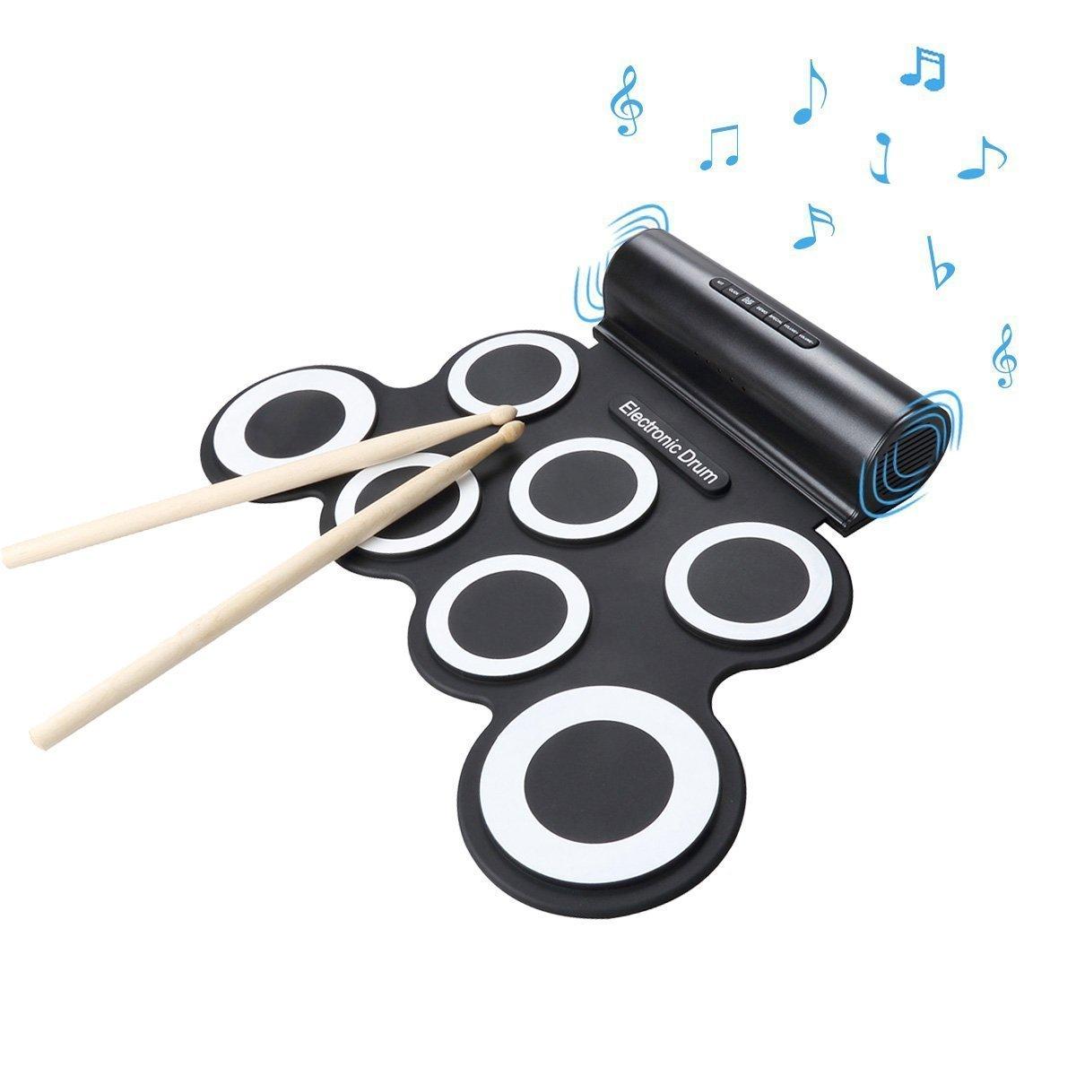 Wasanstore rueda para arriba el cojín del kit portátil de batería electrónica con el regalo de día de Navidad del altavoz entretenimiento de los niños regalo de los niños