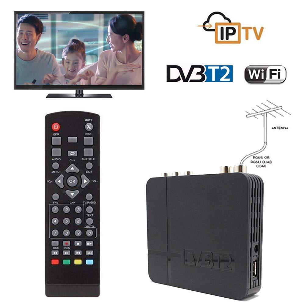 dezirZJjx Digital TV Box, Mini HD DVB-T2 K2 WiFi Terrestrial Receiver Digital TV Box with Remote Control US Plug