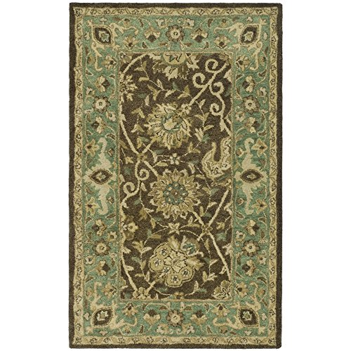 Safavieh Antiquities Collection AT21G Handmade Traditional Oriental Brown and Green Premium Wool Area Rug feet (3' x 5')