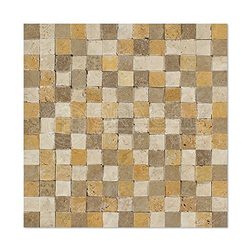 Mixed Travertine 1 X 2 Brick Mosaic Tile, Split-Faced – Box of 5 Sheets