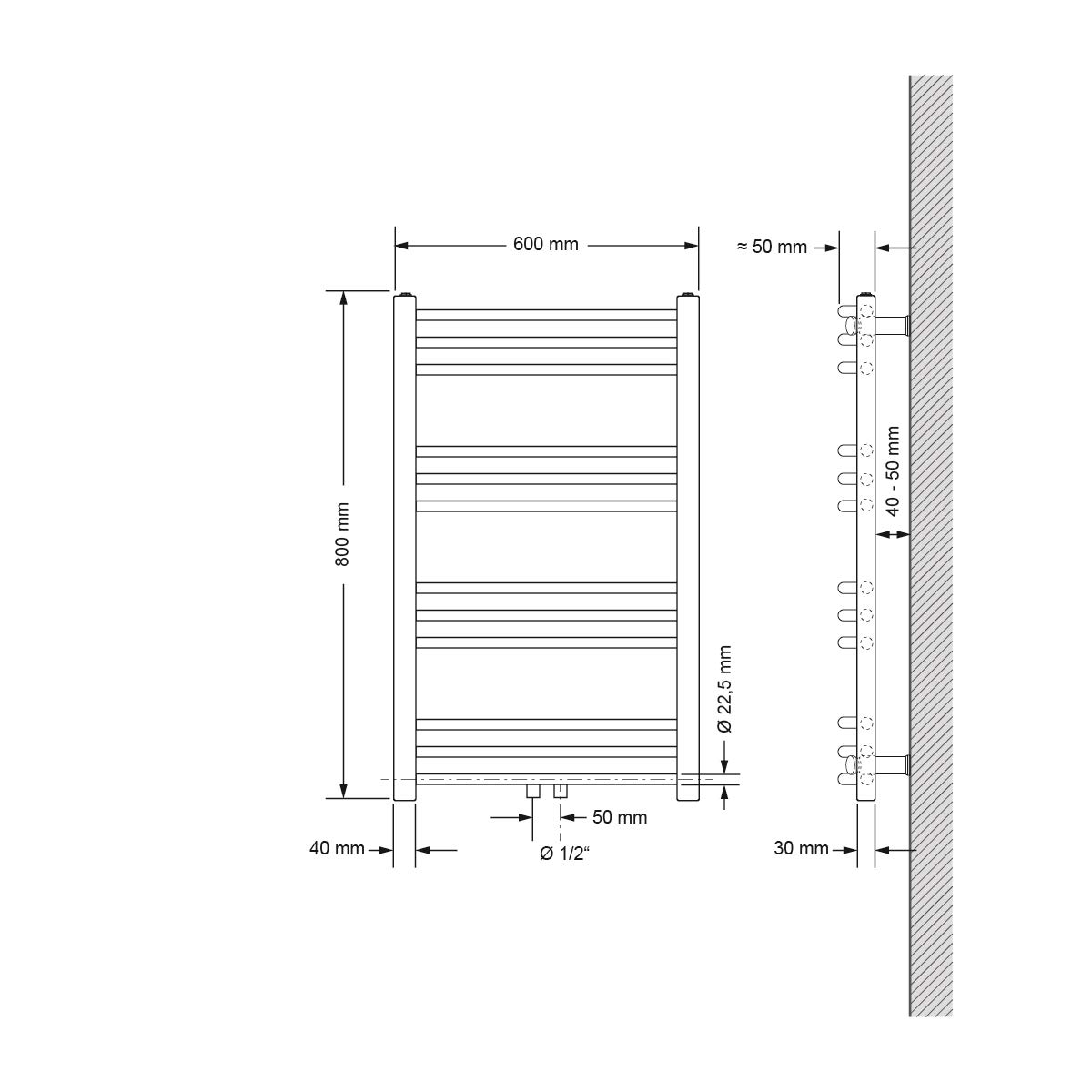 Heizk�rper Handtuchw�rmer Handtuchtrockner 750 x 1800 mm ECD Germany Badheizk�rper Sahara gebogen mit Mittelanschluss Anthrazit