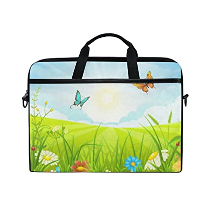 f319fe3ec28f Image Unavailable. Image not available for. Color  ALAZA Butterflies In  Grass Laptop Bag Briefcase Shoulder Messenger ...