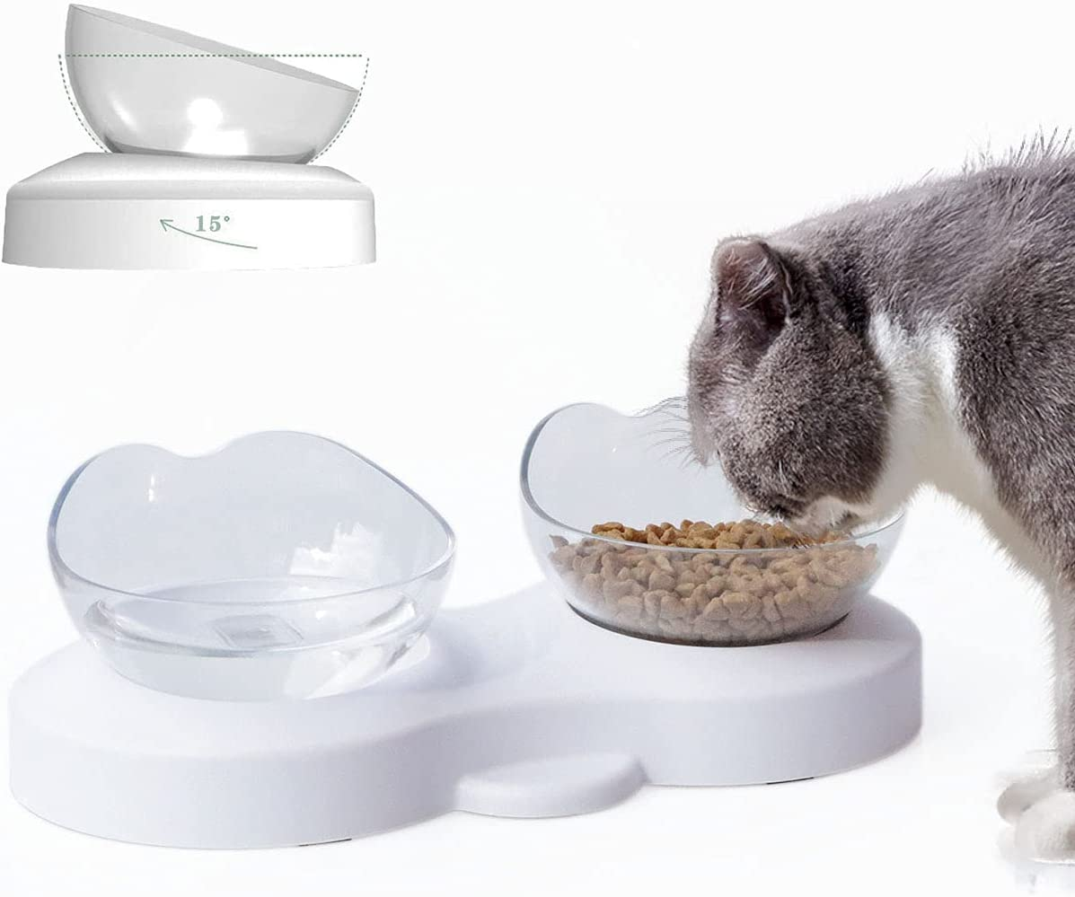 0-15° Raised Cat Bowls for Food and Water Set, Elevated Cat Food Bowl, Adjustable Height 0-15 Degree Tilt Design, Pet Bowl Stress-Free Suit for Cats Small Dogs, Anti Vomiting Pet Bowls