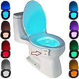 WC luz nocturna, ZSZT LED Luz de Inodoro Luz con Detección de movimiento del sensor automático, 8 Cambio de Color,Funciona con Pilas, para cuartos de baño con niños (Sólo activa en la oscuridad)