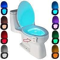 Lampe de Toilette ZSZT Veilleuse LED pour WC Salle de Bain Capteur Détecteur PIR 8 Changement de Couleurs Éclairage (seulement s'active dans l'obscurité)