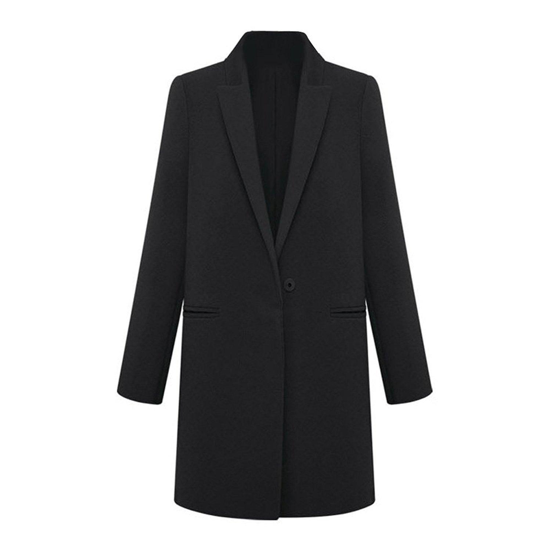 TOOGOO(R) Mode Femmes Long hiver Manteau en laine Cachemire Trench Blazer Costume Survetement noir - M 031524A2
