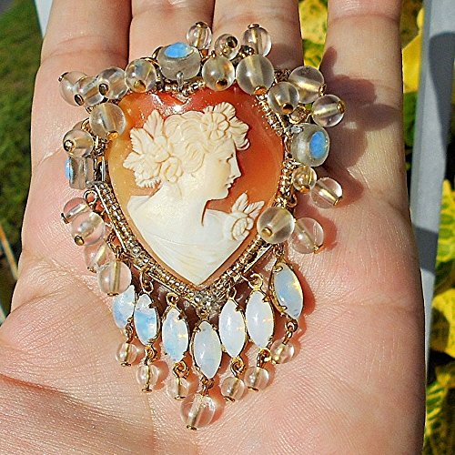 Opal Goddess Pendant (Vintage Carved Heart Shell Cameo