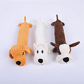 New Pet Dog Plush Sound Cartoon Dog Shape Chew Toy Squeaker Squeaky Play Toys