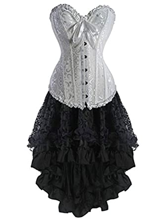 1c46ea806b8f9 Martya Women s Basque Gothic Waist Cincher Boned Lace up Corsets and  Steampunk Bustiers Dress with Skirt