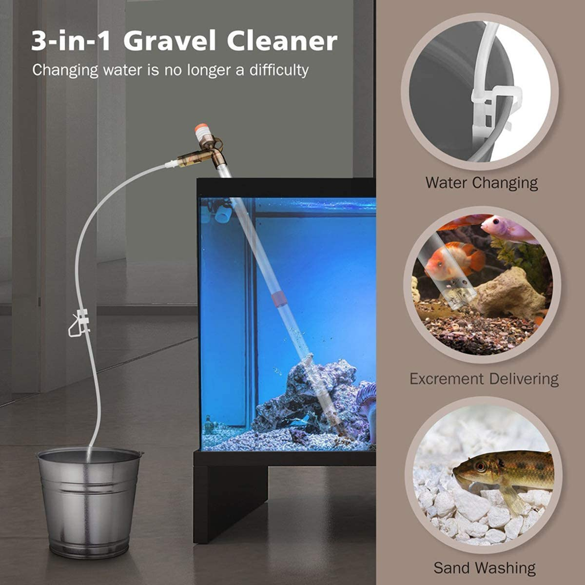 Great for Tank Water Changing Moss Removal Gravel Cleaning. Ruiqas Hand Syphon Pump,Fish Tank Siphon and Gravel Cleaner