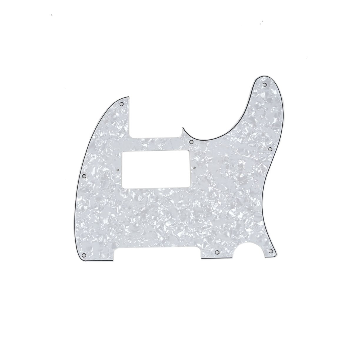 Musiclily 8 Hole Guitar Telecaster Pickguard Humbucker HH Scratch Plate for Fender USA/Mexican Standard Tele Parts, White Pearl 4 Ply MX0274