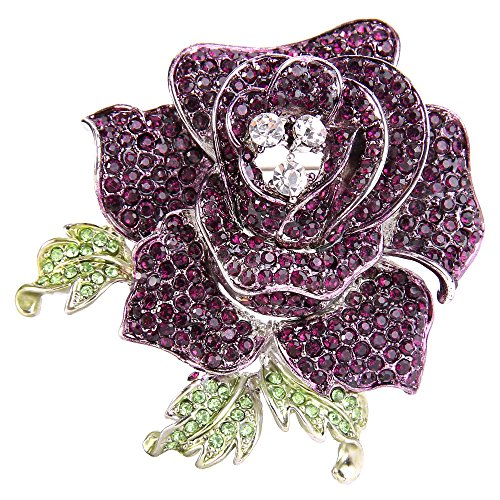 EVER FAITH Women's Austrian Crystal Blooming Beautiful Rose Flower Brooch Amethyst Color - Amethyst Brooch Flowers