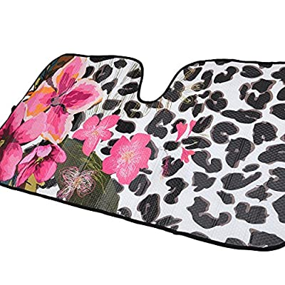 BDK AS-701+SS-001_AMZHD AS701 Flower Leaopard Design Windshield Sun Shade for Car SUV Truck with Side Window Sunshades, 58 x 28, Standard, Floral Leopard: Automotive