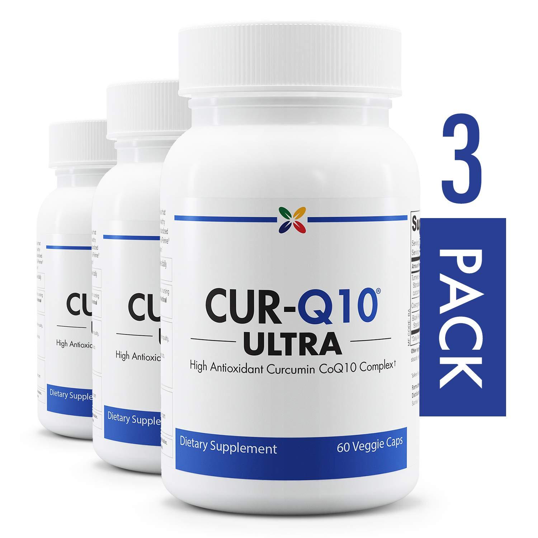 3-Bottle Pack - High Antioxidant Curcumin CoQ10 Complex - CUR-Q10 Ultra Curcumin CoQ10 Complex - Stop Aging Now - 60 Veggie Caps