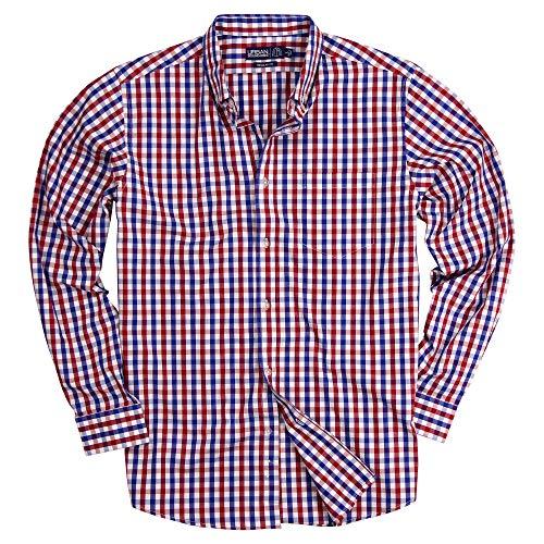 (Men's 100% Cotton Plaid Long Sleeve Shirt (Red/White/Blue, Regular Fit: X-Large))
