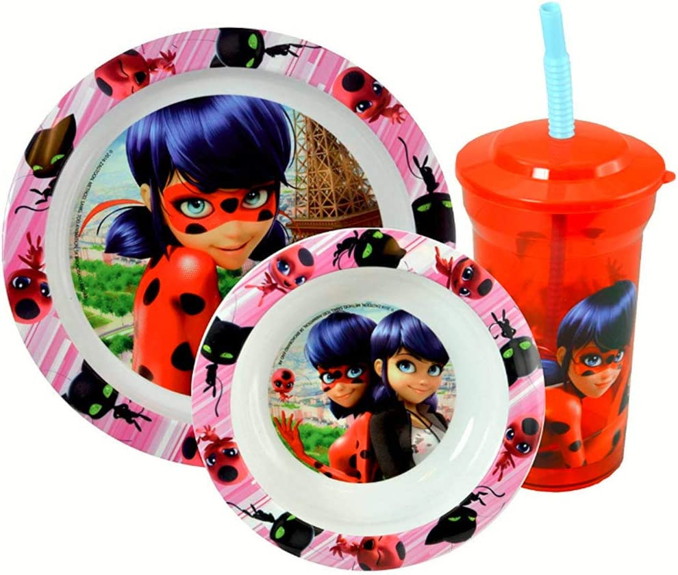 Miraculous Ladybug 3pc Dinnerware Set