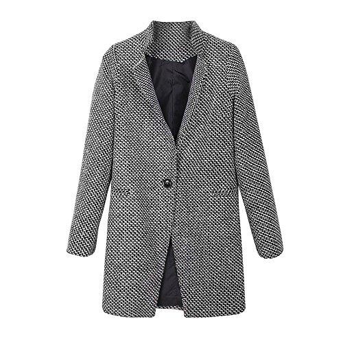 JINSHUN Women Slim Winter Warm Wool Lapel Long Coat Overcoat, Ladies Trench Parka Jacket Outwear (M, Black)