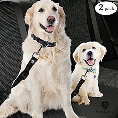 "2 Snug and Secure Adjustable Dog & Cat Seat Belts (19.6"" to 31.6"") by SunGrow - Hassle-free Universal Clip Feature Guarantees Safety of Pets : Comfortably Secures Jumpy Pets while riding in a Car"
