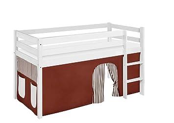 Etagenbett Hochbett Spielbett Kinderbett Jelle 90x200cm Vorhang : Lilokids jelle kw braun beige s spielbett hochbett mit