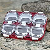 Mini Waterproof Fishing Tackle Box Fishing Hook Storage Case With Magnet 6 Compartments Black/Red Colors^Red.