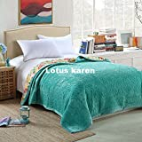 Lotus Karen Warm Thick Flannel Blanket Korean Style Quilted Bedspreads Solid Color Quilted Bed Cover Bed Sheet Coverlet Twin Full Queen Size
