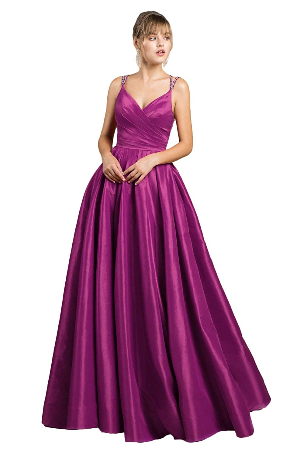 Fuchsia Yakey 2019 VNeck Long Prom Dresses for Girls Pleat Beading Straps Floor Length Evening Gowns