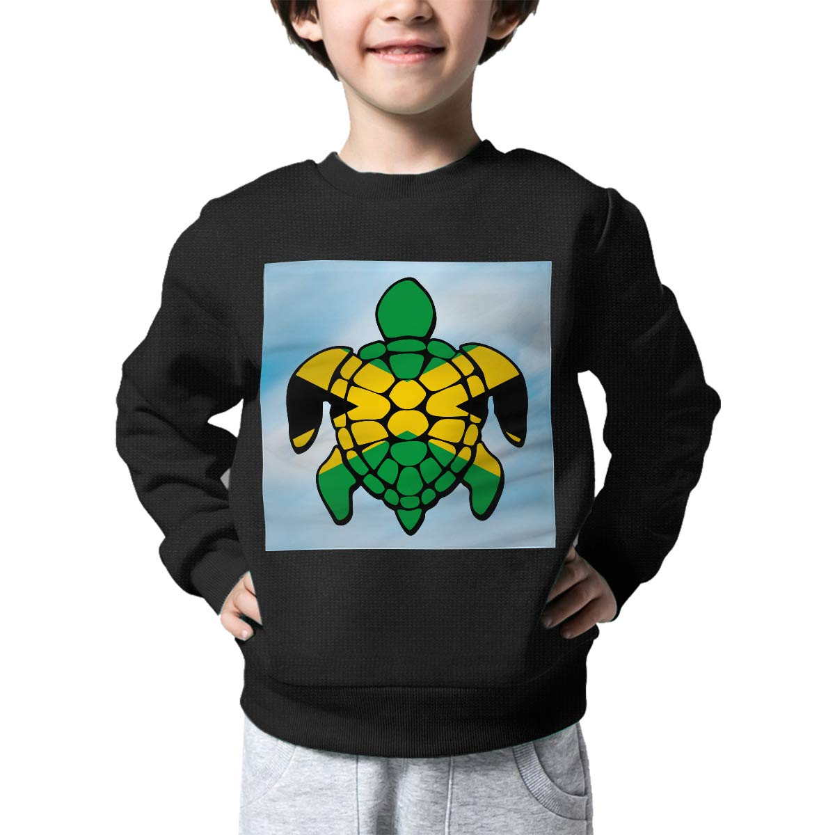 Jamaica Flag Turtle Print Newborn Childrens Crew Neck Sweater Long Sleeve Soft Knitted Sweater Jumper