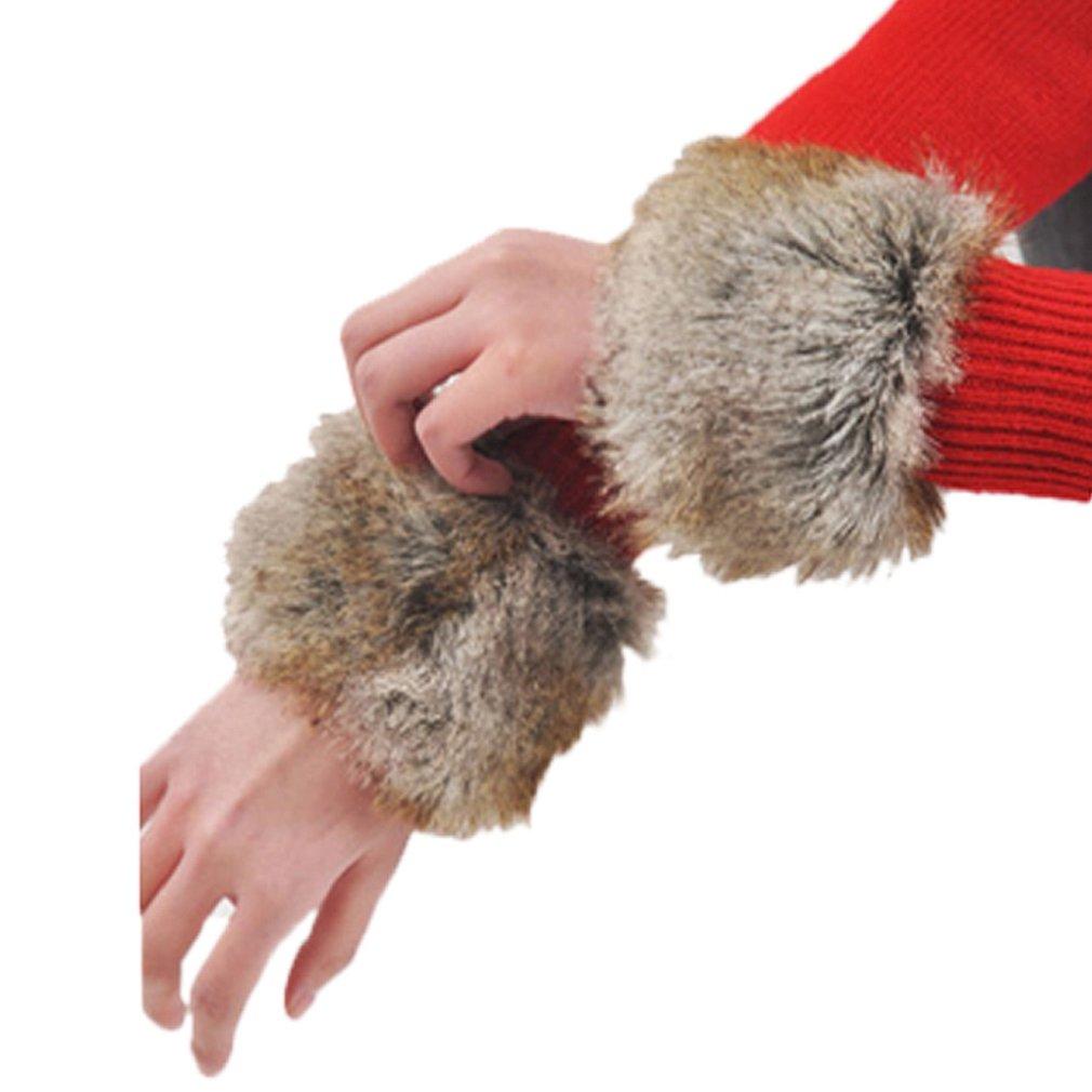 Tonsee 2015 herbst Winter warme Fell Manschette Handschuhe Imitation Kaninchen Pelz Ärmel weiblichen Handgelenk Armband Fell Winter Sätze (Caffee) Tonsee-1101520
